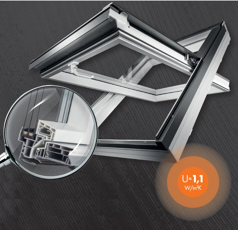 dachfenster kunststoff energie uw 1.1 fakro kronmat optilight 3-fach verglasung