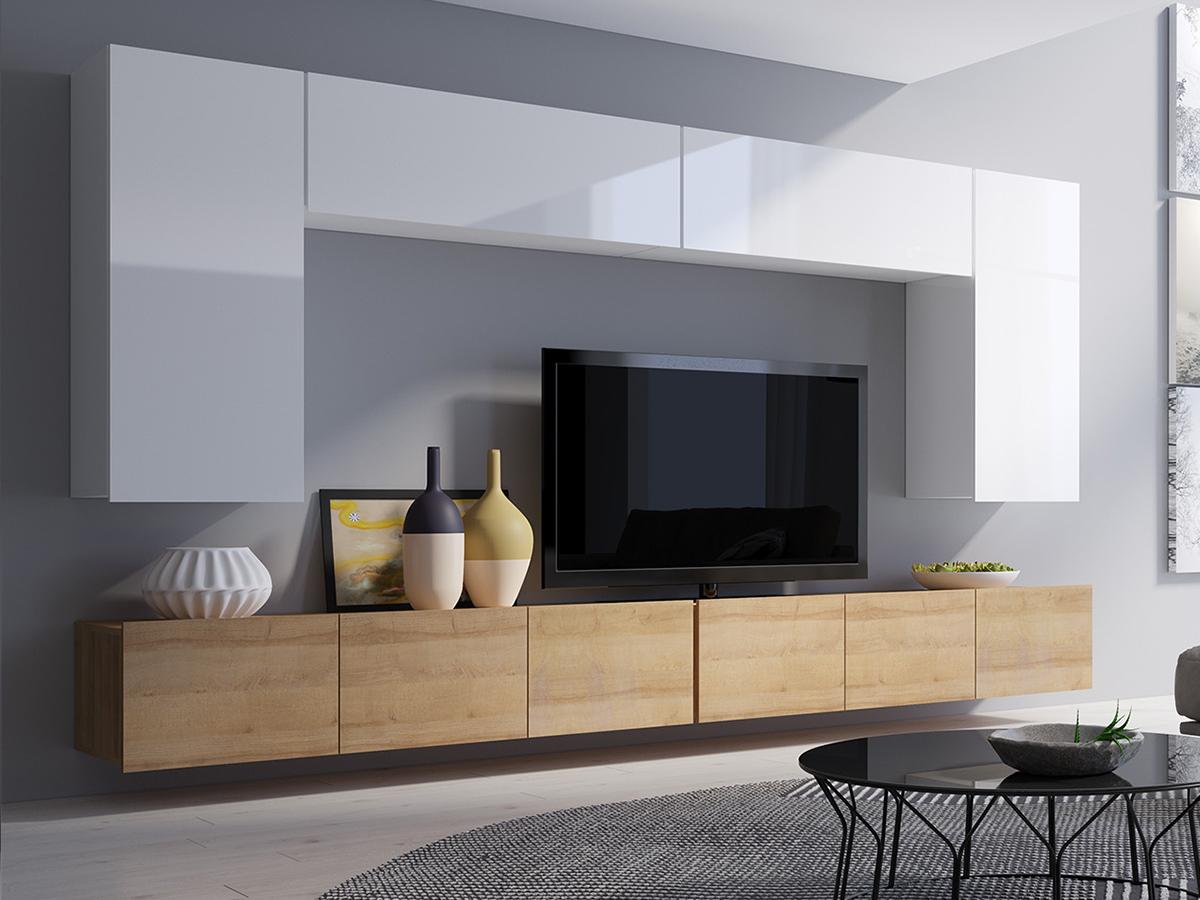 Moderne Wohnwand Schrankwand Wohnzimmer Corona Simson I Goldene